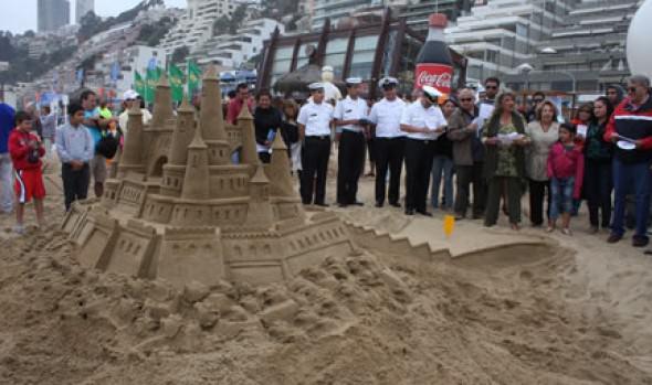 Municipalidad de Viña del Mar prosigue en playa  Las Salinas y Los Marineros Concurso de Castillos de Arena