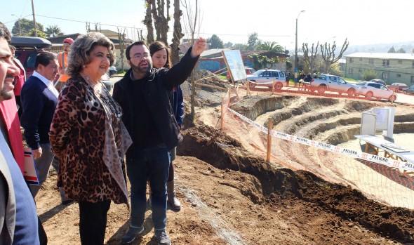 En plena ejecución se encuentran las obras de construcción de la plaza y anfiteatro el Maqui