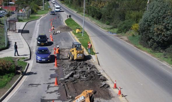 Municipio de Viña del Mar inició reparación de pavimento en  Agua Santa