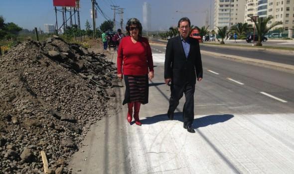 Obras de mejoramiento Av. Edmundo Eluchans en Reñaca  fueron inspeccionadas por alcaldesa Virginia Reginato