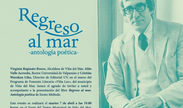 """Municipalidad de Viña del Mar invita a presentación del libro """"Regreso al Mar. Antología poética"""" de Ennio Moltedo"""