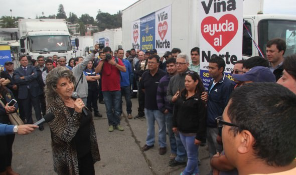 Caravana solidaria al norte, con 65 toneladas de ayuda, fue despedida por alcaldesa Virginia Reginato
