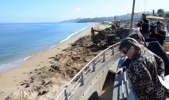 80% de avance tienen obras  de recuperación  del borde costero que fueron inspeccionados por alcaldesa Virginia Reginato