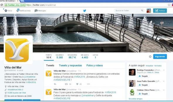 Municipio de Viña del Mar celebra con concurso sus 100 mil seguidores en twitter