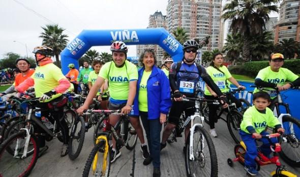 Cicletada familiar dio el vamos  a eventos deportivos en el borde costero de Viña del Mar