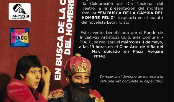 """Municipio de Viña del Mar invita a obra """"En busca de la camisa del hombre feliz"""" para celebrar Día Nacional del Teatro"""