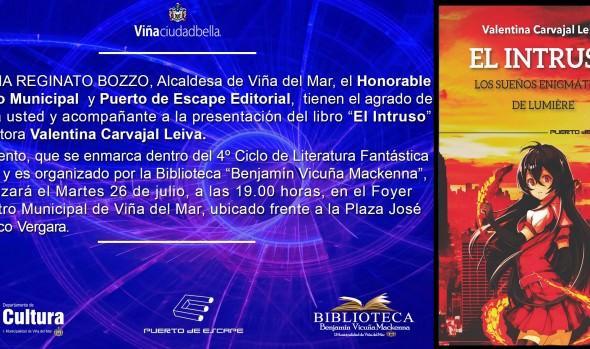 """Municipalidad de Viña del Mar invita a presentación de novela de fantasía onírica """"El Intruso"""""""