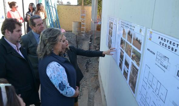 Obras de ampliación de Cecosf de Santa Julia fueron inspeccionadas por alcaldesa Virginia Reginato