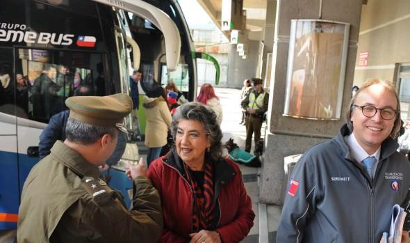 Transportes, Carabineros y alcaldesa Virginia Reginato informan medidas de seguridad para fin de semana largo en Rodoviario de Viña del Mar