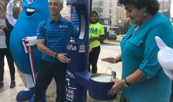 Municipio de Viña del Mar y ESVAL implementan puntos de hidratación públicos para personas y mascotas