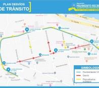 Municipio informa  plan de desvíos por reposición de pavimento en calles de Recreo
