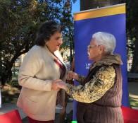 Abuelita que cumplirá 100 años recibió saludo de alcaldesa Virginia Reginato