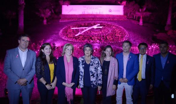 Viña del Mar se suma a Campaña Mundial contra el Cáncer de mama iluminando el Reloj de Flores
