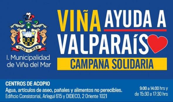 Municipio de Viña del Mar apoya a vecinos de Valparaíso afectados por incendio