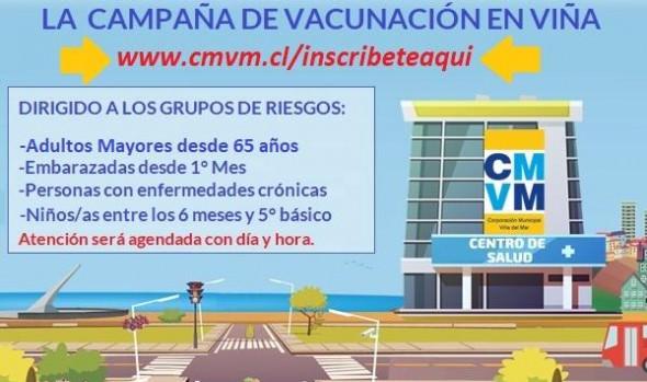 Con inscripción on line prosigue vacunación segura en Viña del Mar