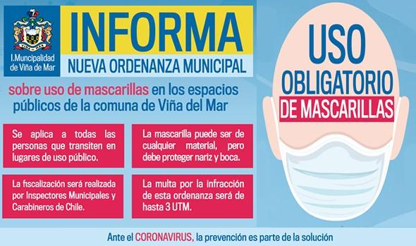 Viña del Mar inicia sociabilización de nueva ordenanza sobre uso obligatorio de mascarilla