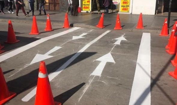 Municipio de Viña del Mar comenzó demarcación de cruces peatonales diferidos para mantener distanciamiento