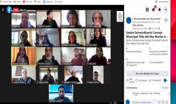 Inédita transmisión en vivo de sesión del Concejo Municipal de Viña del Mar